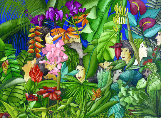 Emergence, Interaction, and Meditation - People, Banana Plants, Heliconias, Hibiscus Flowers