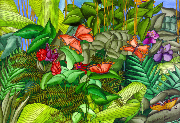 Tropical Butterflies - Red Ginger Plants, Leaves, and Wings