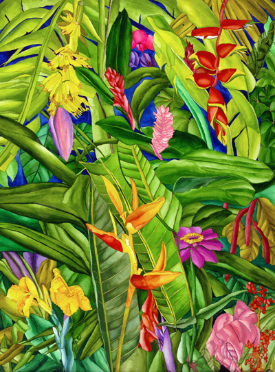 Banana Plant in a Sea of Tropical Flowers - Native Caribbean Tropical Flowers