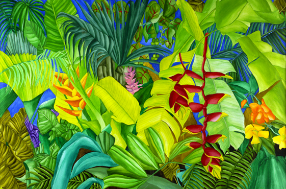 Floriations - Banana Leaves, Ferns, Seagrape plants, and Tropical Flowers