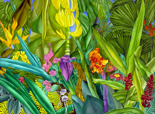 Floral Paradise - Red Ginger, Birds of Paradise, and a Banana Plant
